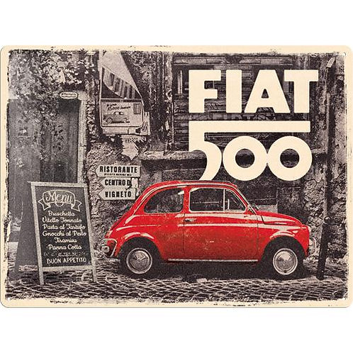 Fiat 500 - Red car in the street Tin Sign 30 x 40cm
