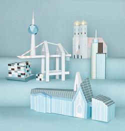 Papierdesign, paper art architecture
