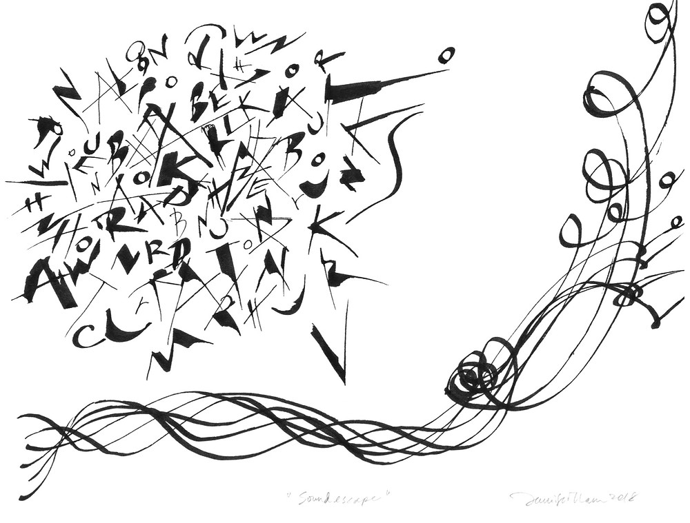 Jennifer Tham, ink drawing for a listening wall, a gift project