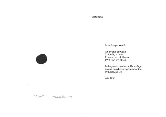 Score for performing listening, excerpt from the artist book Curious & Curiouser, J Tham, 2020.