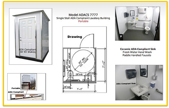 ADA compliant, shower, toilet building, lavatory, grab bars, ceramic, fresh water hand wash