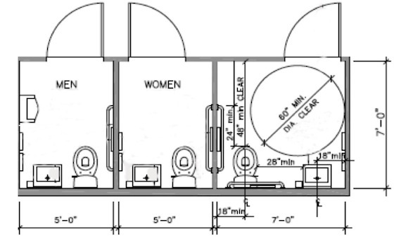 3 Stall Lavatory Building Drawing