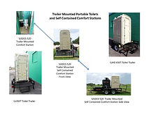 Trailer mounted portable toilets and flushing comfort stations