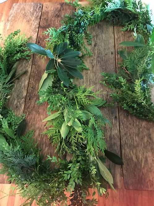 Wedding garland 3 item mixed fresh greenery