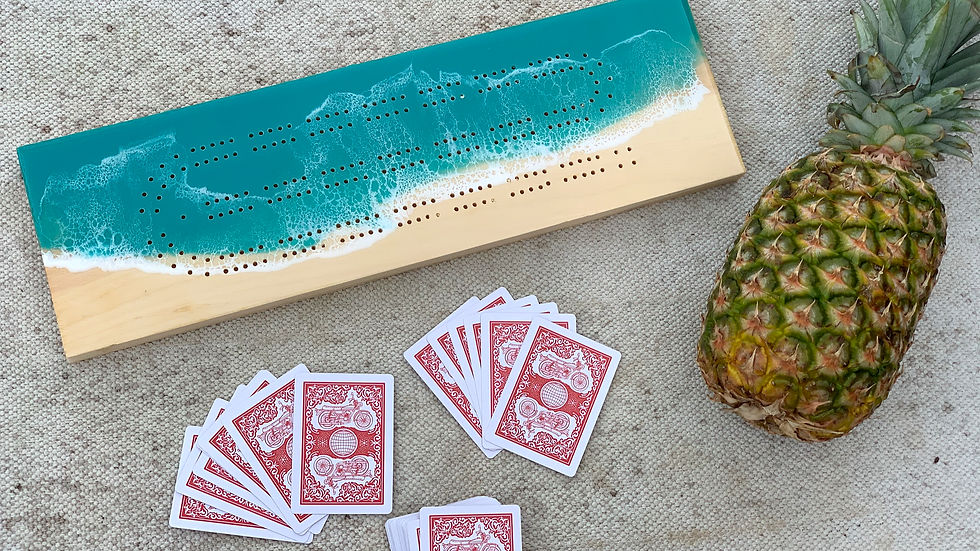 Two Player Turquoise Cribbage Board