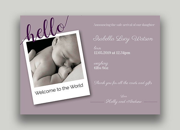 Birth Announcement cards - digital design (emailable)