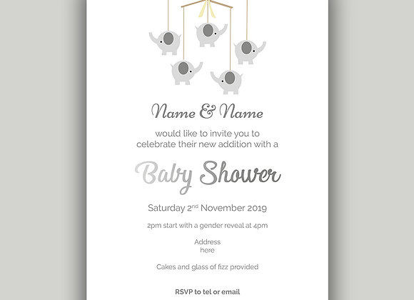 Flat Baby Shower invitation cards