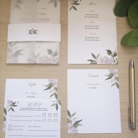 Vellum invitations with band