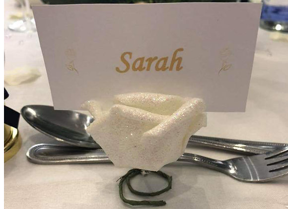 Place cards with artificial rose holder