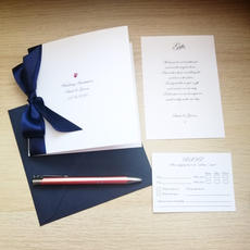 Folded invitation with ribbon