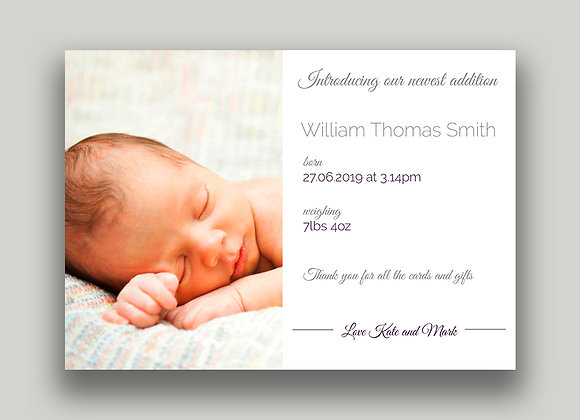 Birth Announcement cards - flat postcard