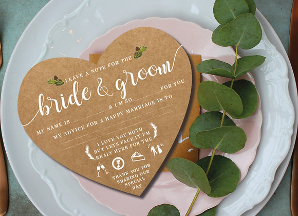Advice cards for the Bride and Groom