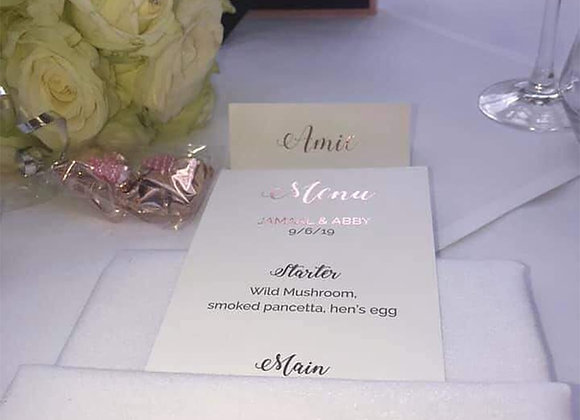 Foiled wedding menus - prices from £0.90