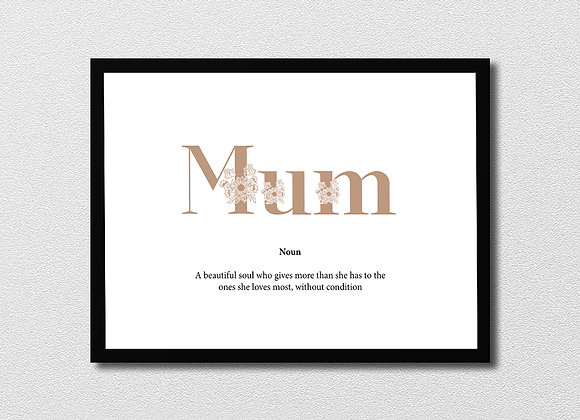Mum framed print with quote