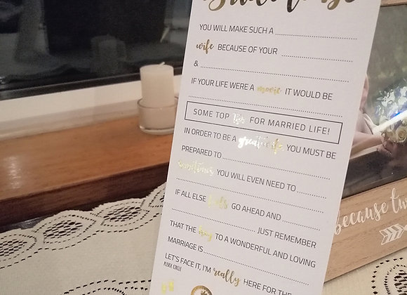 Foiled Bride to be advice cards