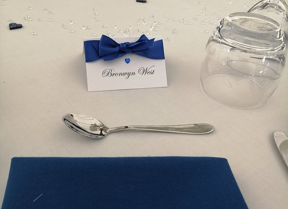 Tent fold ribboned place cards - prices from £0.60