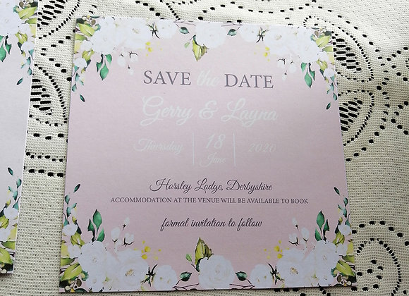 Flat printed Save the Date card