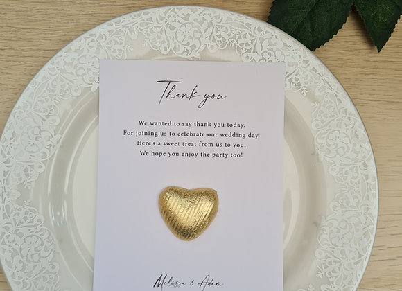 Chocolate heart poem card wedding favours