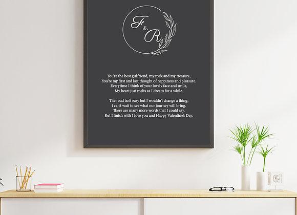 Personalised poem frame - 3 designs