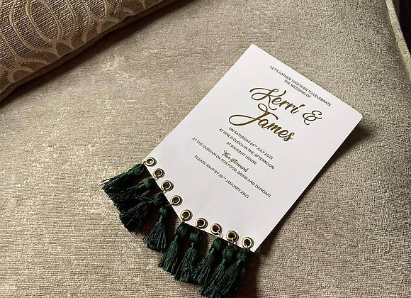 Invite with tassles - prices from £2.25