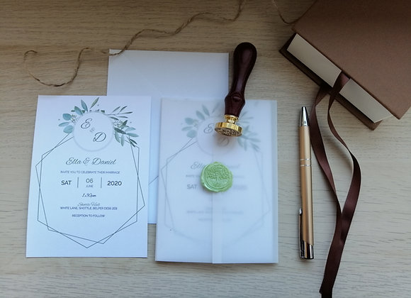 Plain vellum wrap with printed invite and wax seal