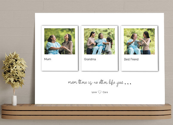 Polaroid style personalised photo canvas