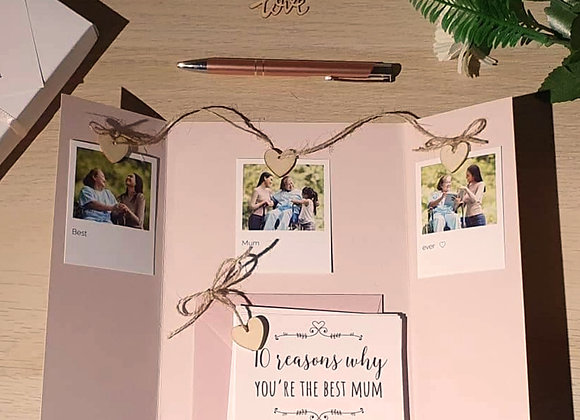 10 reasons you're the best Mum photo prop card with gift box