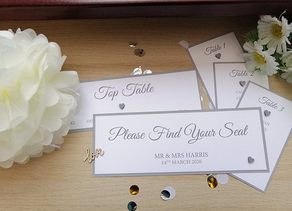 Table Plan cards - sets from £15