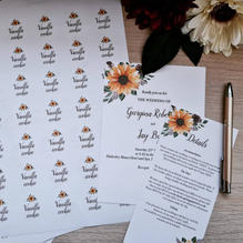 Wedding invitations and stickers