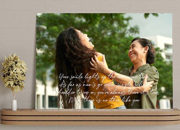 Photo canvas with poem