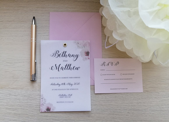 Vellum with backing card and eyelet