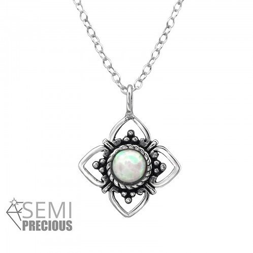 SNOW FLOWER OPAL NECKLACE