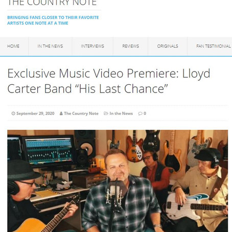 """The Country Note: Exclusive Music Video Premiere: Lloyd Carter Band """"His Last Chance"""""""