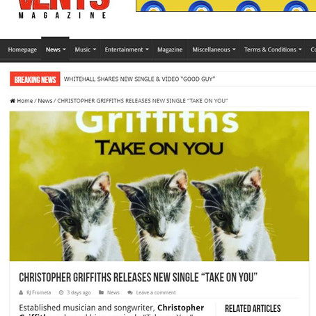 "Vents Magazine: CHRISTOPHER GRIFFITHS RELEASES NEW SINGLE ""TAKE ON YOU"""