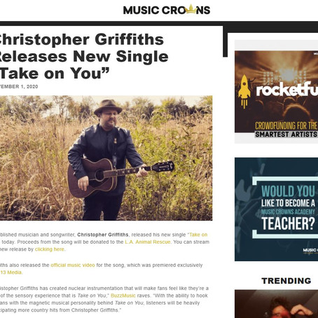 "Music Crowns: Christopher Griffiths Releases New Single ""Take on You"""