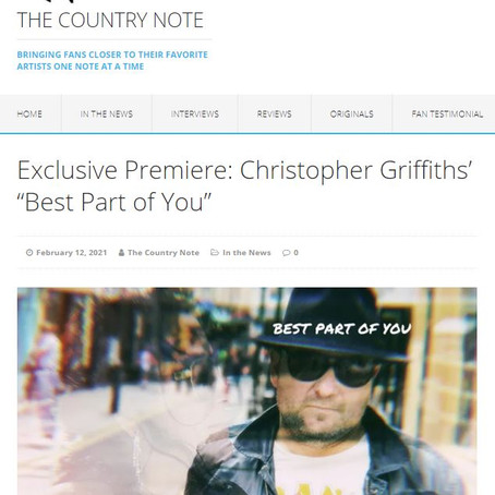 """The Country Note Exclusive Premiere: Christopher Griffiths' """"Best Part of You"""""""