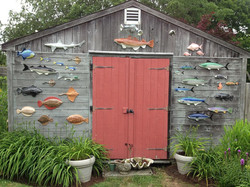 Ceramic Fish on Shed