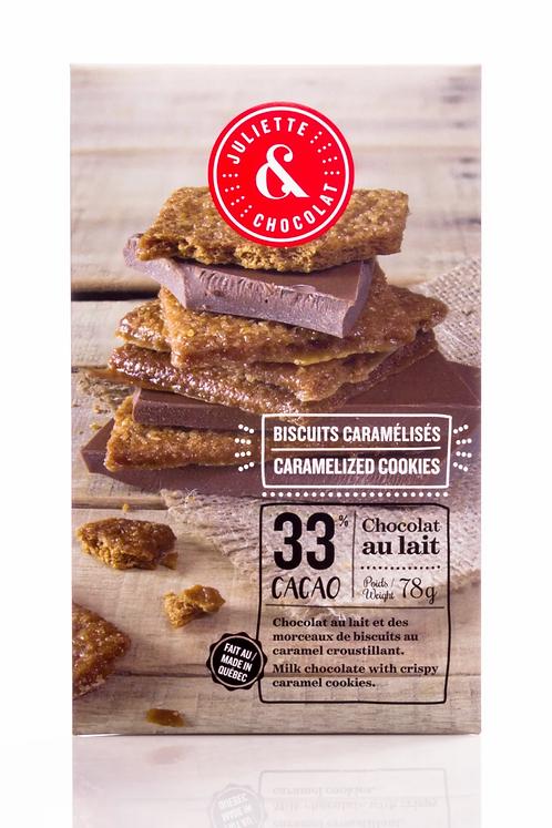 Tablette chocolat au lait & biscuits caramélisés- Juliette & Chocolat