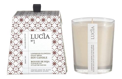 N°1 Chandelle Lucia (20h & 50h) - Fleur de lin & Lait de chèvre