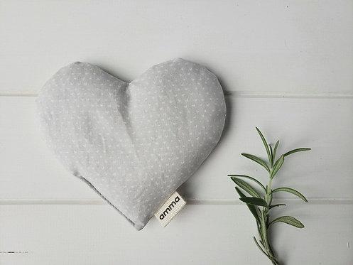 Coussin réconfort Cœur - P'tits cœurs blancs sur gris / Amma Thérapie