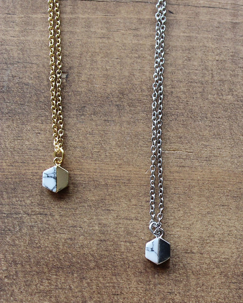 Collier Hexagone  / Argent - Marbre ou  Or - Marbre / CJD