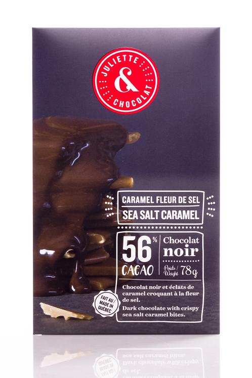 Tablette chocolat noir au caramel fleur de sel - Juliette & Chocolat