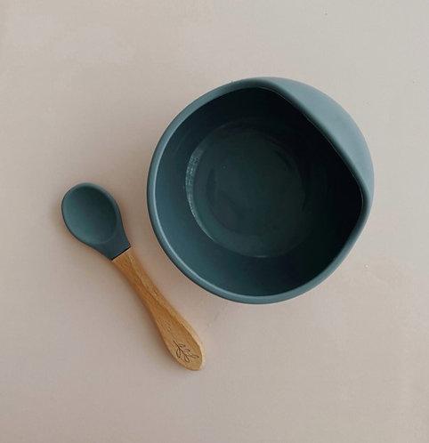 Ensemble bol & cuillère - Silicone gris foncé