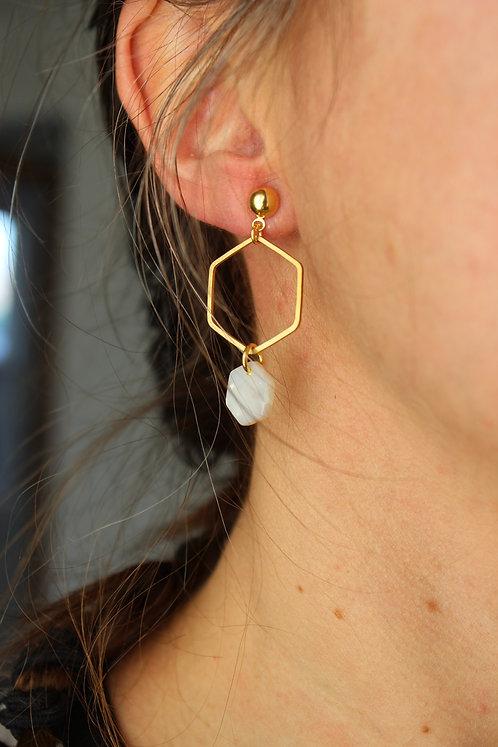 Boucles d'oreilles Hexagone/ Or & Nacrée/ CJD