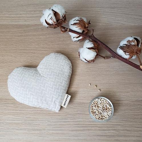 Coussin réconfort Cœur - Zig Zag  beige / Amma Thérapie