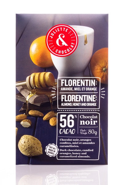 Tablette chocolat noir Florentine, amandes, miel & orange - Juliette & Chocolat
