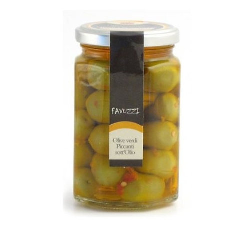Olives vertes dans l'huile piquante / Favuzzi