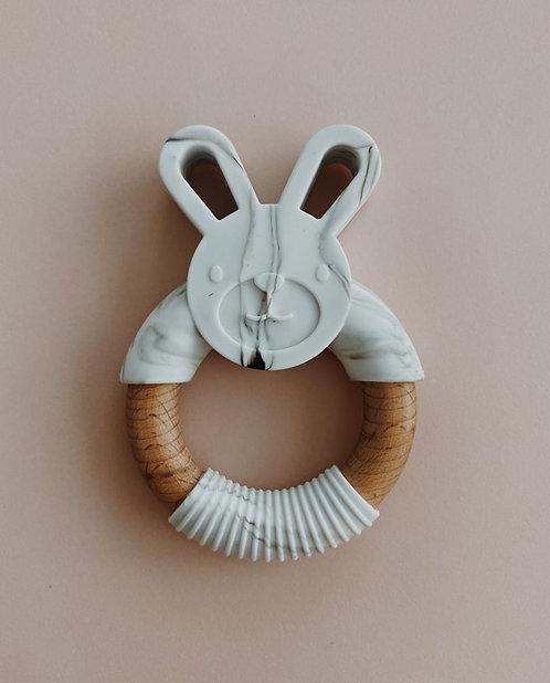 Jouet dentition en silicone et bois - Marbre