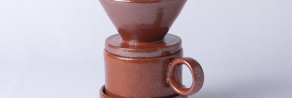 Conjunto Café Tenmoku - Coador, Copo e Base - ATPUTE022