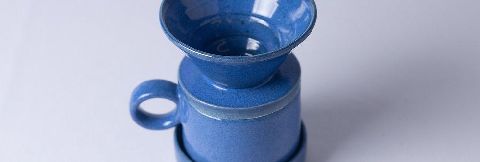 Conjunto Café Azul - Coador, Copo e Base - ATPUTE024